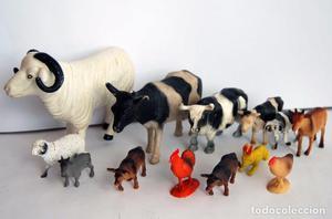 LOTE DE 13 ANIMALES DE GRANJA DE GOMA PVC