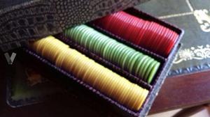 Caja de fichas de casino vintage