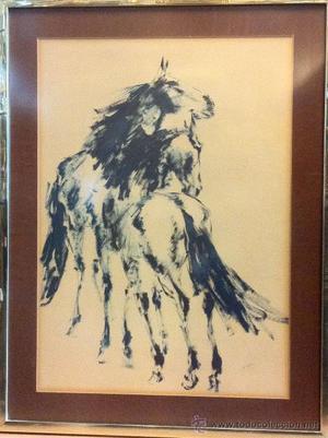 Dibujo grande de caballos, firmado por Ricardo Marín