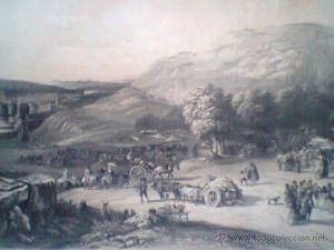 Grabado de la Romería de S.Isidro del Campo, Madrid.