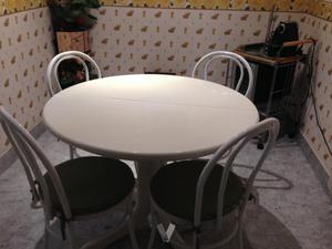 Mesa redonda blanca posot class for Mesas de cocina redondas extensibles