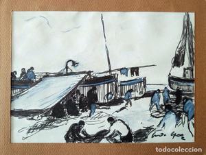 Pescadores faenando --- dibujo / acuarela firmada ilegible