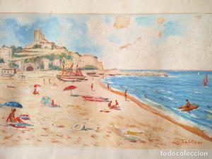 Playa --- Antigua y bonita acuarela firmada TOSCANI