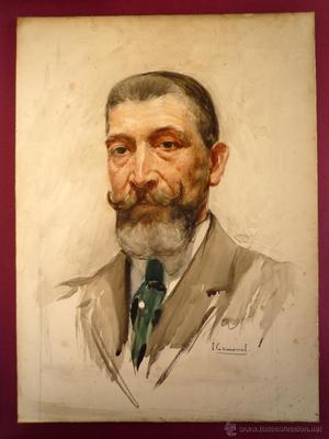 RETRATO DE CABALLERO. ACUARELA ORIGINAL FIRMADA I. GAMONAL