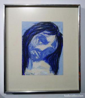 Retrato Cristo --- dibujo pastel ceras firmado Ramón Llovet