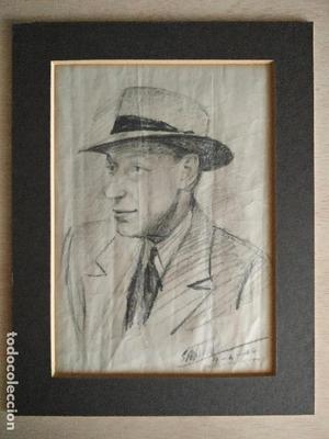 Retrato caballero - dibujo firmado ilegible (Santiago ??) /