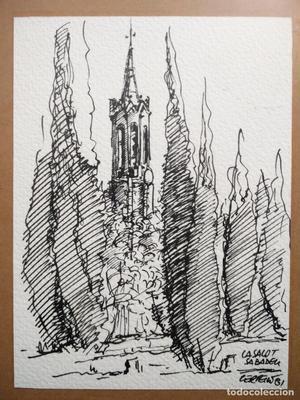 Santuario de la Salut / Sabadell --- dibujo firmado