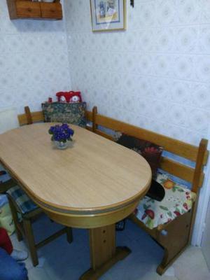Banco esquinero con mesa rustica a juego espa a posot class for Mesas de cocina con banco esquinero