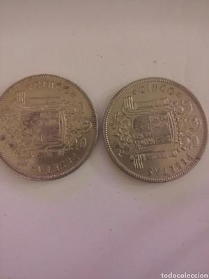2 monedas de 5 pesetas  (duro cabezon)
