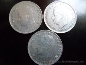 3 MONEDAS DE 25 PESETAS JUAN CARLOS I