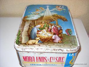 Antigua caja de hojalata de crema de membrillo ''La Lira''