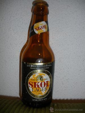 Botella cerveza *SKOL* LAGER, 19 cl. - GRABADO RELIEVE BASE: