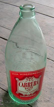 Botella cristal agua mineromedicinal CABRERA. Manantial