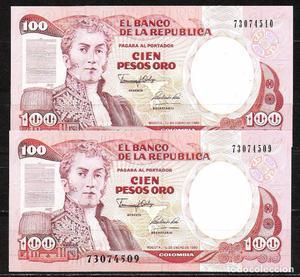 COLOMBIA PAREJA CORRELATIVA 100 PESOS ORO  S/C
