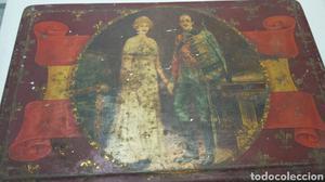 Caja lata Antigua con foto Reyes Alfonso XIII y Victoria