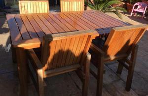 Conjunto terraza. Mesa y 4 sillas exterior.