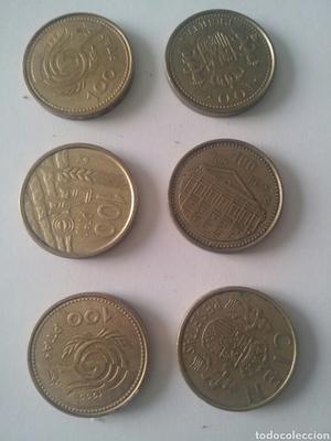 Lote de 6 monedas de 100 pesetas