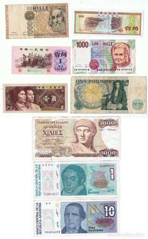 Lote de 9 billetes extranjeros usados y nuevos