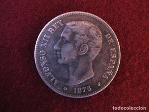 Moneda de 5 pesetas de plata de Alfonso XII de