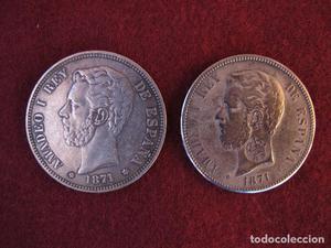 Monedas de 5 pesetas de plata de Amadeo I, de  con y sin