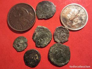 lote de 8 monedas españolas antiguas