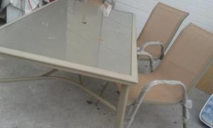 mesa de jardin y seis sillas de aluminio