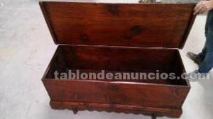 Baul mueble rústico en madera de pino