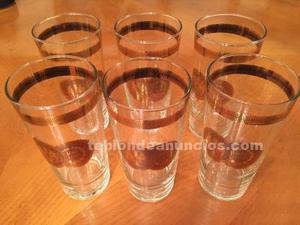 Conjunto 6 vasos de cristal austríaco y oro