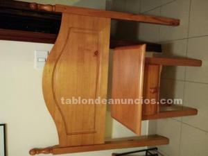 Conjunto cabezal de madera y mesilla con somier de regalo