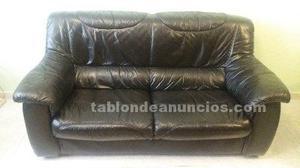 Juego de dos sofas de piel de color negro