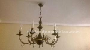 Lámpara vintage en bronce, de 6 brazos