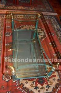 Mesa de centro de cristal y espejo