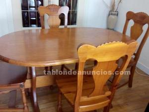 Mesa y 4 sillas a juego rusticas