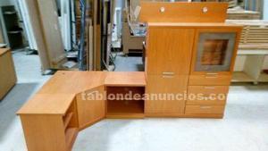 Mueble comedor vitrina + estanteria con luces