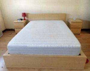 Estructura de cama de 150x200cm en color abedul, en perfecto