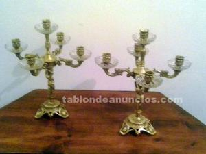 Lamparas de mesilla de bronce y cristal