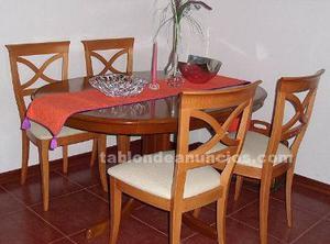 Mesa comedor, 4 sillas cerezo macizo seminuevo