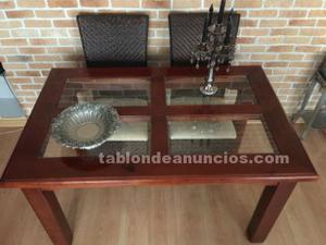 Mesa de comedor de madera maciza color cerezo más 4 sillas