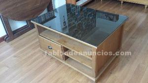 Mesa de madera maziza con cajones baldas y cristal