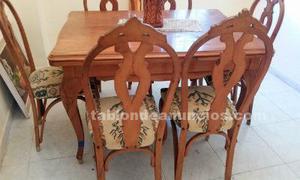 Conjunto comedor mesa tallada + 6 sillas