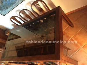 Mesa comedor de caoba + 6 sillas