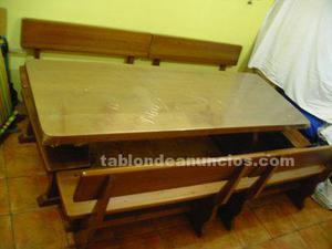 Mesa de merendero de roble macizo con bancos