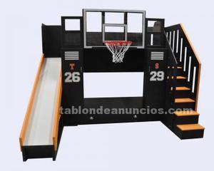 Cama litera de baloncesto con tobogán