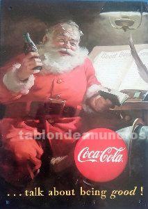 Cartel chapa coca cola papa noel