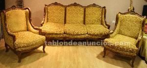 Sofá antigua francés luis xv con dos sillones grandes