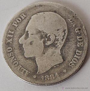 MONEDA DE 2 PESETAS ALFONSO XII . MS-M. PLATA. VER FOTOS