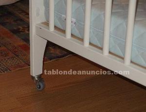 Cuna de bebe madera blanco con colchon