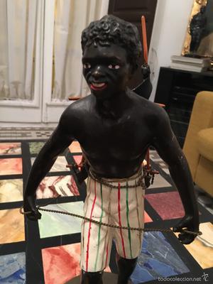 Porteador esclavo negro. Bronce policromado Viena siglo XIX