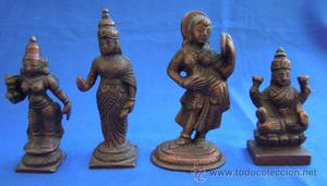 4 figuras orientales de bronce