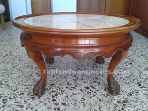 Mesa de centro de madera y mármol. Antigüedad.